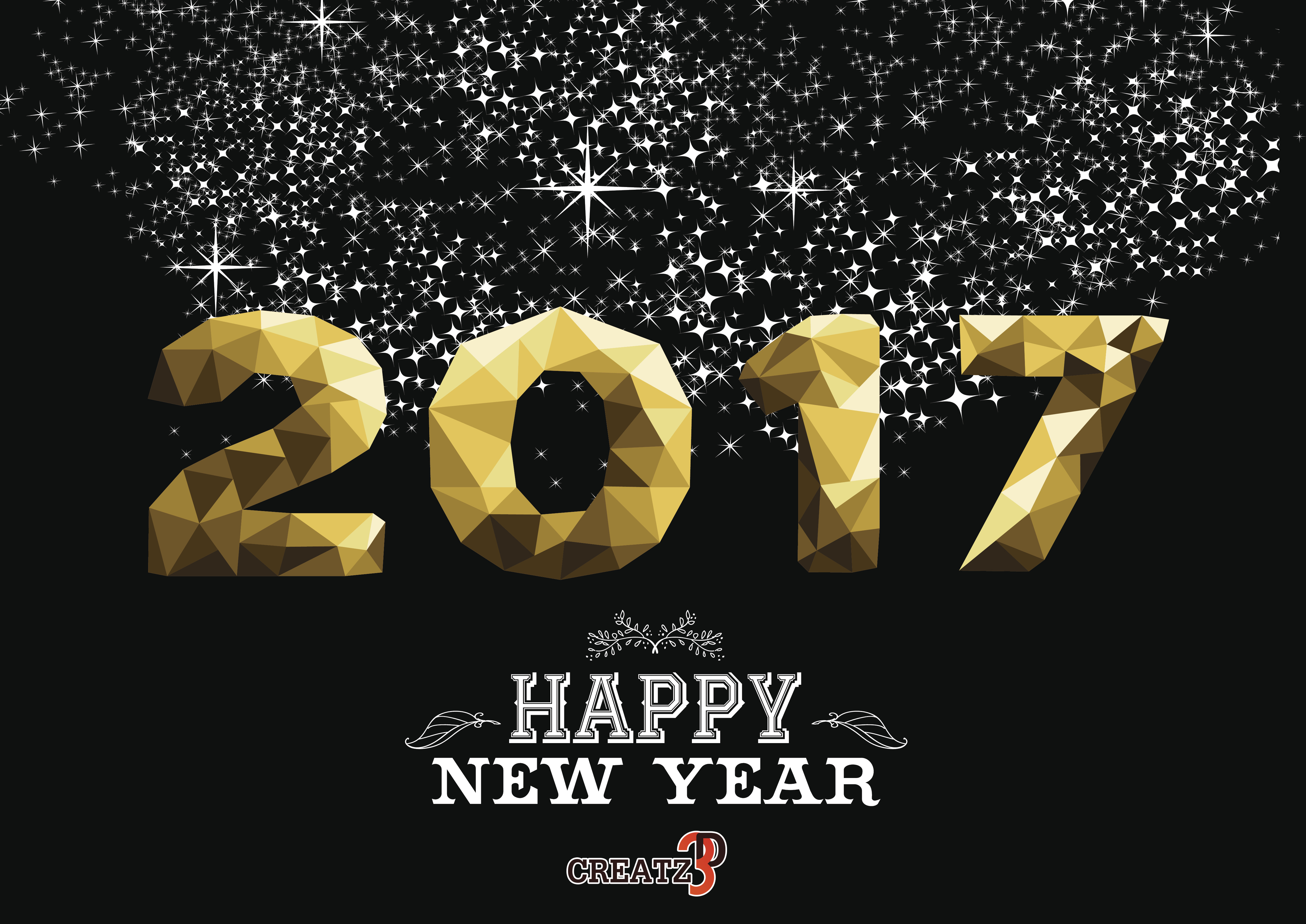Happy new year 2017 gold low poly geometry design on night firework background. Ideal for greeting card, party invitation or web. EPS10 vector.